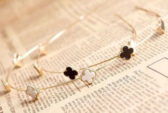 Korean-style metal clover fine hairpin flower hair bands