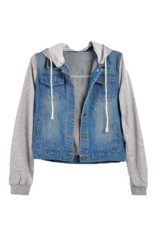 Harga Denim Jean Hooded Jackets Coat (Blue)