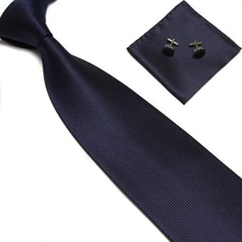 Harga Stylefad Mens Solid Plaid Wide Neck Tie Set Hanky Cufflink Navy Blue - intl