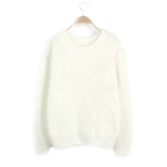 Harga Women Mohair Pullover Sweaters and Pullovers Autumn Winter O-neck Candy Color Knitted Sweater pull femme Knitwear White - intl