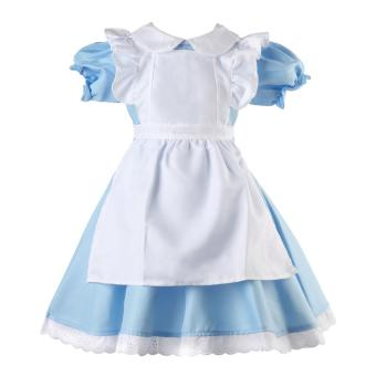 Harga 3PCS Girls Maid Lolita Alice in Wonderland Costume Cosplay Fancy Dress Outfits