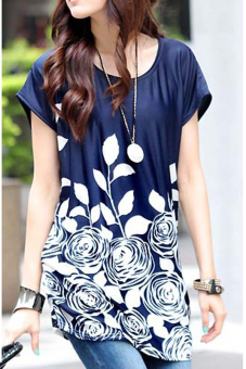 Harga Ice Silk Loose Flower Print Mini Dress (Blue)