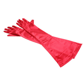 21 Inch Women Arm Long Satin Elbow Gloves for Evening Party Wedding Red