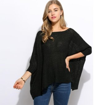Harga MG O-Neck Batwing Sleeve Loose Solid Knitted Poncho Sweater(Black) - intl