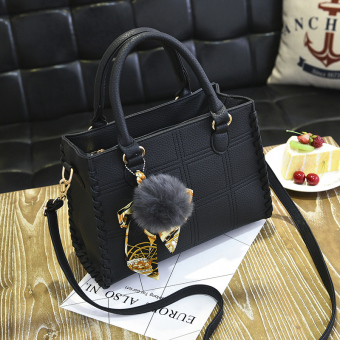 Bag 2017 New style spring models ladies bag handbag bag big bag simple fashion handbags shoulder bag messenger bag (Black)