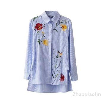 Harga Flowers in europe and america embroidery stripe long sleeve shirt casual shirt