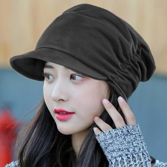 Harga Women's Fashion Drape Layers Slouch Beret Beanie Soft Brim Newsboy Hat Visor Cap (Grey)