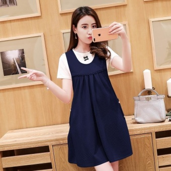 Harga Small Wow Maternity Daily Round Solid Color Cotton Above Knee two-piece Dress Navy Blue - intl