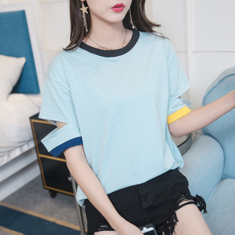 Korea New style loose hollow hole Short sleeve Top summer comfort Harajuku style student Striped short-sleeved t-shirt female (Blue)