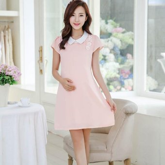 Harga Small Wow Maternity Korean Turn-down Collar Solid Color chiffon Above Knee Dress Pink - intl