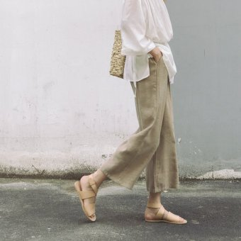 Cupro twill summer cool loose elastic waist was thin wild nine points straight wide leg pants casual pants female (Khaki)