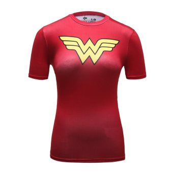 Harga Cody Lundin Woman Compression Tights Gym Fitness Superman T Shirt(Red) (Intl)