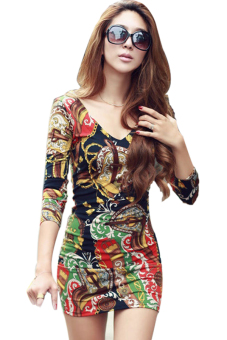 Harga Deep V-neck Long Sleeve Flower Print Mini Dress (Multicolor)