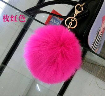 Cute fur ball imitation fox hair ball bag key Buckle