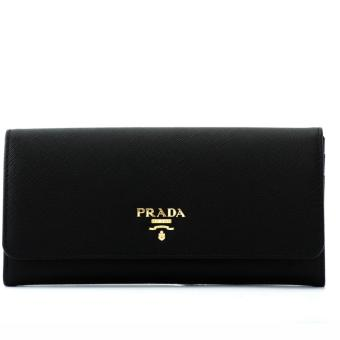 Harga Prada Saffiano Metal Long Flap Wallet (Nero)