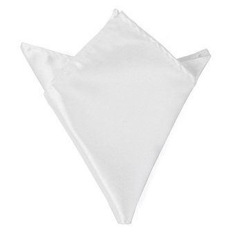Harga Men Wedding Party Pure Plain Color Square Suit Pocket Satin Handkerchief Hanky White - intl