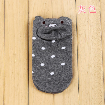 Harga Summer cute cartoon socks/invisible socks cotton socks cute bear (Gray)