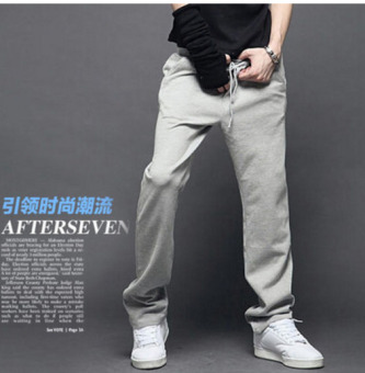 Harga Spring new Men's casual Youth trend Knitted Straight pants gray - intl
