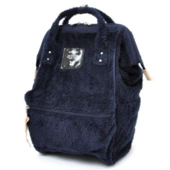Harga 【Anello】 Authentic Japan Mini Backpack - Polar Bear Alike Fur - Navy