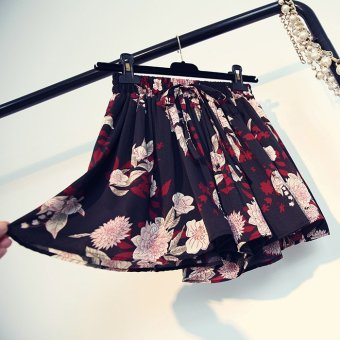Spring and summer new korean wild floral chiffon pleated skirt elastic waist lace shorts high waist wide leg pants casual pants female (Big black flower)