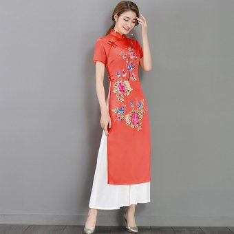 Harga 2017 vietnam aodai dress improved cheongsam spring and summer new retro national wind catwalk clothes costumes tea (Nacarat)