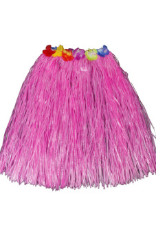 Hawaiian Tropical Hula Luau Grass Dancer Skirt Pink