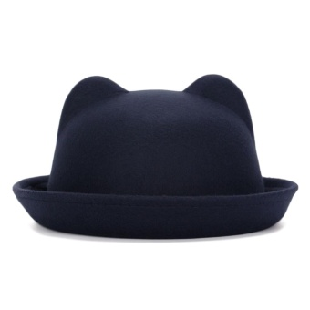 Harga Women Fashion Cute Cat Ears Basin Cap Vintage Flanging Fedora Bowler Hat - intl