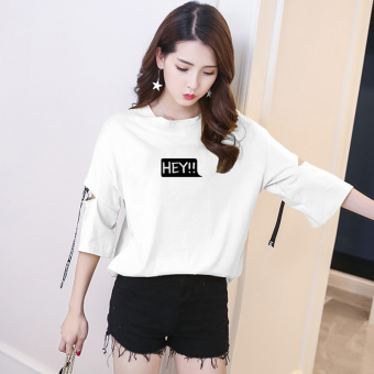 Korean students harajuku style bf loose fifth sleeve shirt printed letters short sleeve t-shirt summer personality hole webbing (White)