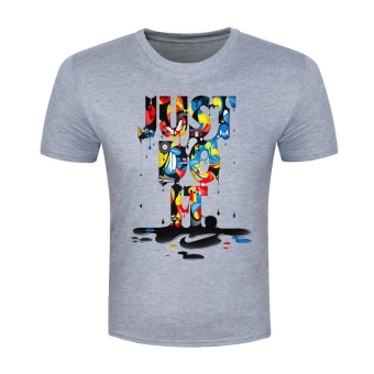 Summer Illustrations Colorful Letters Printed Fashion T-shirt (Grey) - intl
