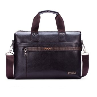 Harga POLO Men Leather Handbag Business Portable Bag Crossbody Tote (Coffee)