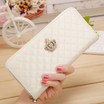 Harga Amart Women Long Wallet Crown Clutch Purse With Coin Bags Wallets Beige - intl