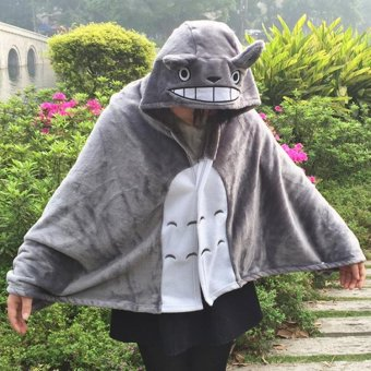 Harga Totoro Lovely Plush Soft Cloak Cos Totoro Cape Cat Cartoon Cloak Coral Fleece Air Blankets Birthday Valentine Gifts - intl