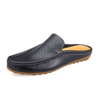 Harga Men Driving Shoes Luxury Brand Shoes Summer Men Shoes Backless Loafers Open Backs Shoes - intl