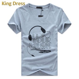Harga Summer Soft Big Size S-5XL Casual Cotton O-neck Men Short Sleeve T Shirt(Grey) - intl