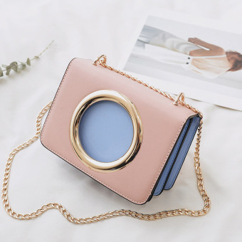 Harga Bag female 2017 summer New style tide Korean-style fashion fresh hit color messenger chain small square bag Cool shoulder bag (Pink with blue)