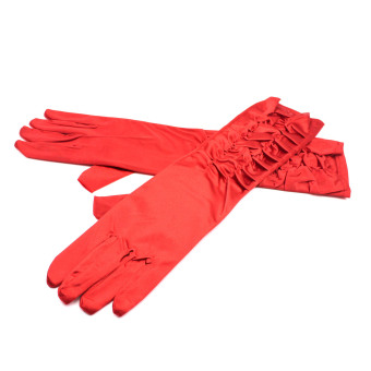Whyus 1 Pair Satin Evening Party Wedding Long Finger Gloves (Red) - intl
