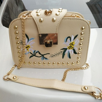 2017 New style handbag embroidery small square package wild rivet small bag Korean-style tide mini chain shoulder messenger bag (Khaki three layer)