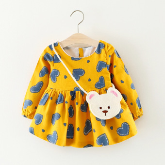 Infants and Children's dress autumn dress (Ginger yellow) (Ginger yellow)