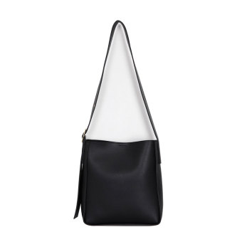 INS minimalist solid color round buckle small and large bucket bag shoulder bag (Black)