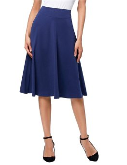 Ishowmall Fashion Women Skirt High Stretchy Cotton High Waist A-line Flared Skirt Black Navy Blue - intl