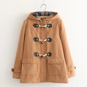 Japanese-style horn buckle double buckle wool coat (Orange color)
