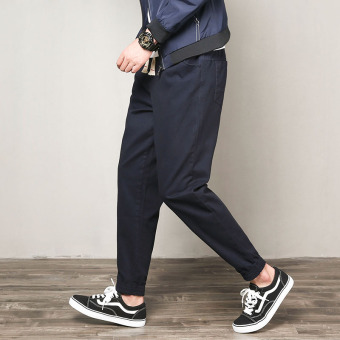 Japanese-style men skinny overalls harem pants ankle-length pants (Navy)