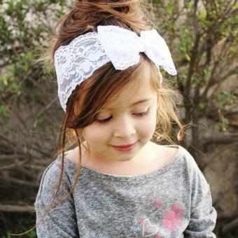 Bargain korean baby girls lace bow hair band head flower headdress kids girl baby headband toddler lace bow flower hair band accessories white mightylinksfo
