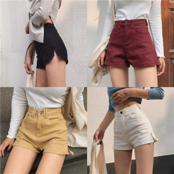 Korea New style retro chic style High waisted Slim fit Slimmingeffect wild shorts a word side zipper denim shorts Female Summer(Wine red color)