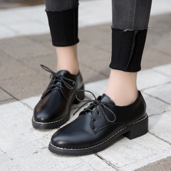 Korean-style black female work versatile shoes small leather shoes ([Matte black])