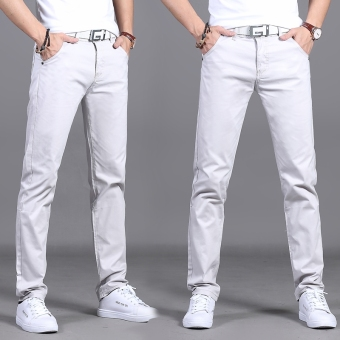 Korean-style black men Slim fit men pants men straight casual pants (Light gray color 911)