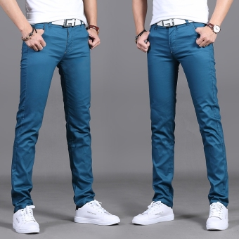 Korean-style black men Slim fit men pants men straight casual pants (Sky blue color 916)