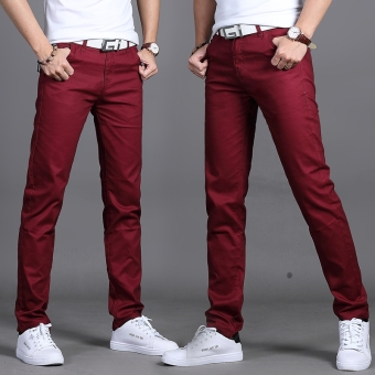 Korean-style black men Slim fit men pants men straight casual pants (Wine red color 912)