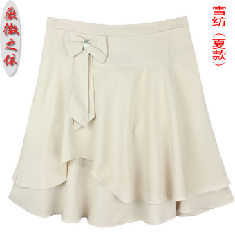 Korean-style chiffon peng half-length skirt a word skirt