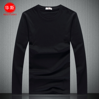 Korean-style cotton solid color men's top T-shirt (Black) (Black)